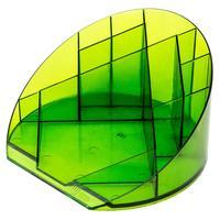 Подставка для канцелярских мелочей Attache Яркий офис 12 отделений прозрачная зеленая