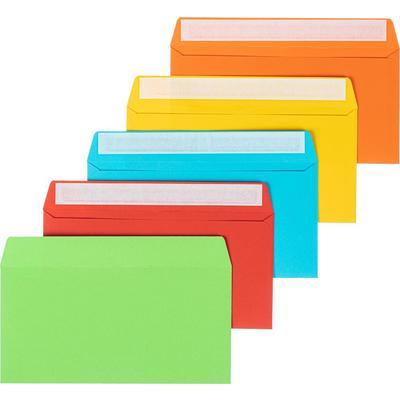 Конверт цветной Комус C65 120 г/кв.м 5 цветов стрип с внутренней запечаткой (10 штук в упаковке)