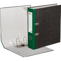 Папка-регистратор Комус 80 мм черная мрамор/зеленый корешок