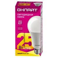 Лампа светодиодная ОНЛАЙТ 25 Вт Е 27 грушевидная 2700 К теплый белый свет