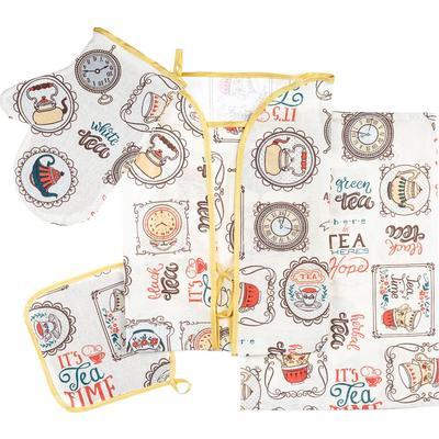 Набор кухонный Чаепитие (полотенце, фартук, рукавица, прихватка)