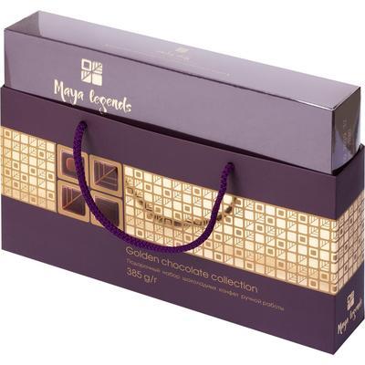 Шоколадные конфеты ручной работы Коммунарка Maya Legends тёмная коробка 385 г