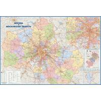 Большая настенная административная карта Москвы и Московской области 1:170 000