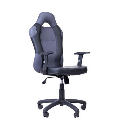 Кресло для руководителя PK 180 серое/черное (искусственная кожа/сетка/пластик)