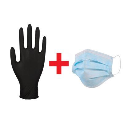 Антивирусный набор (перчатки одноразовые нитриловые черные размер L, 100 штук + маска одноразовая 50 штук)
