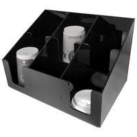 Диспенсер-горка под стаканы на 6 секций акриловый черный 2 штуки в упаковке
