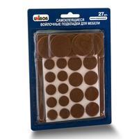 Накладки мебельные самоклеящиеся Unibob войлочные коричневые (27 штук в упаковке)