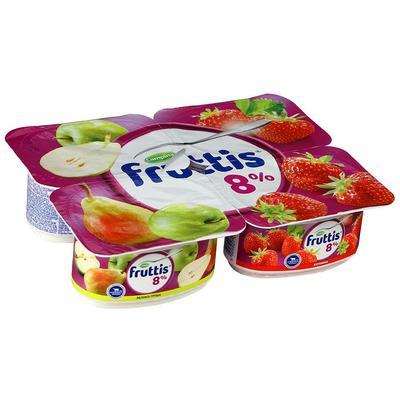 Йогуртный продукт Fruttis клубника-яблоко-груша 8% 4 штуки по 115 г