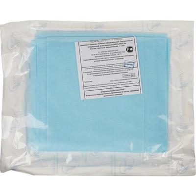 Простыня одноразовая Гекса стерильная 200х140 см спанбонд ламинированный (голубая, плотность 40 г)