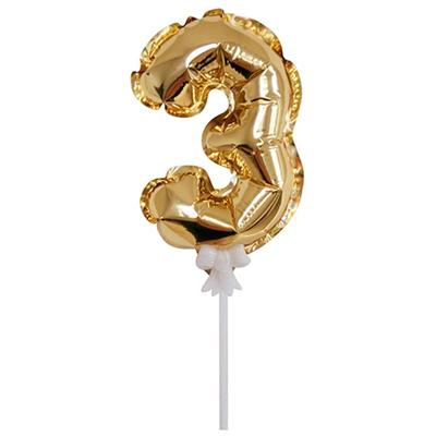 Шар самонадувной Цифра 3 золотистый 18 см