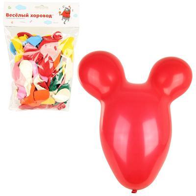 Шары надувные Веселый хоровод Мышка разноцветные 30 см (50 штук в упаковке)