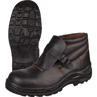 Ботинки сварщика утепленные натуральная кожа черные с металлическим подноском размер 43