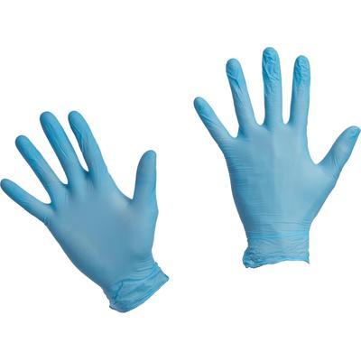 Перчатки одноразовые нитриловые неопудренные голубые (размер L, 200 штук/100 пар в упаковке)