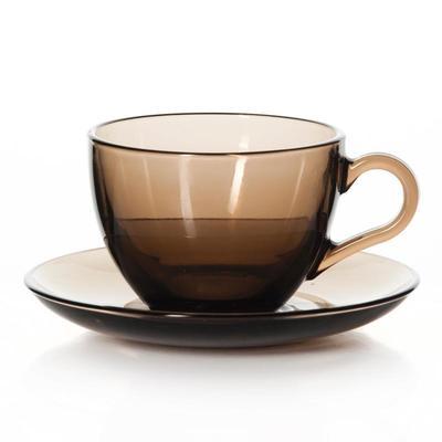 Уценка. Сервиз чайный Pasabahce Броунз 215 мл коричневый на 6 персон