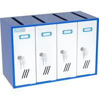 Ящик почтовый ЯПС-1 4-секционный металлический белый/синий (525х235х350 мм)
