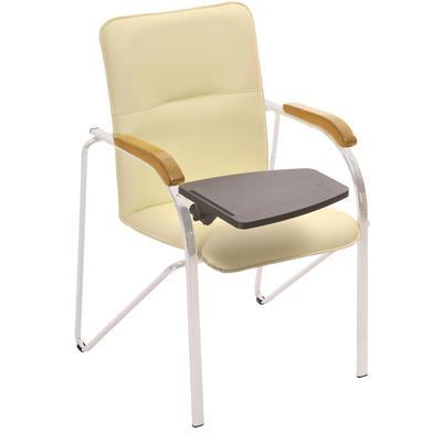 Кресло Samba светло-бежевое (кожзаменитель/бук/металл серебристый)