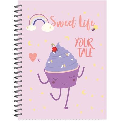 Бизнес-тетрадь Attache Selection Sweet Life Капкейк A5 96 листов разноцветная в клетку на спирали (145x203 мм)