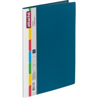 Папка файловая на 10 файлов Attache A4 10 мм синяя (толщина обложки 0.7 мм)