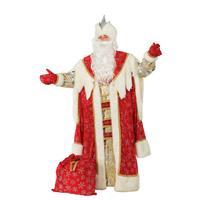 Костюм карнавальный взрослый Дед Мороз Королевский красный (размер 54-56)