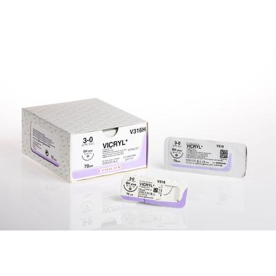 Шовный материал Викрил Лигатура 4/0 нить 150 см без иглы (12 штук в упаковке)