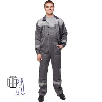 Костюм рабочий летний мужской л22-КПК с СОП темно-серый/светло-серый (размер 52-54, рост 194-200)