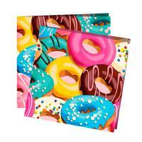 Салфетки бумажные Пати Бум Пончики 24x24 см (12 штук в упаковке)