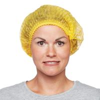 Шапочка Шарлотта плиссе, желтая (25 штук в упаковке)