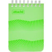 Блокнот Attache Waves Конференц А6 50 листов зеленый в клетку на спирали (103х157 мм)
