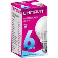 Лампа светодиодная ОНЛАЙТ 6 Вт Е 14 шарообразная 4000 К нейтральный белый свет