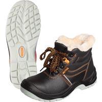 Ботинки утепленные Мистраль натуральная кожа черные (размер 45)