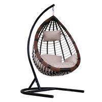 Кресло подвесное Belk Шарм коричневое/белое/бежевое (искусственный ротанг/сталь)