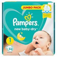 Подгузники Pampers New Baby-Dry Newborn Джамбо Упаковка 1 (NB) 2-5 кг (94 штуки в упаковке)