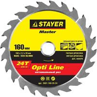 Диск пильный по дереву Stayer Opti Line 160х20 мм 24T (3681-160-20-24)