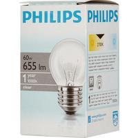 Лампа накаливания Philips 60 Вт E27 шаровидная прозрачная 2700 К теплый белый свет