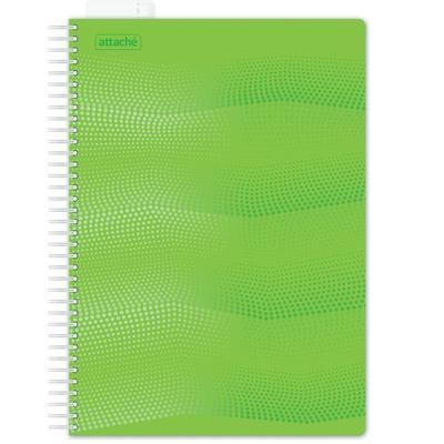 Бизнес-тетрадь Attache Waves А4 100 листов зеленая в клетку на евроспирали с линейкой (220х298 мм)