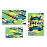 Набор папок №1 School Tunning cars 3 штуки в упаковке (уголок А4,  конверт на кнопке А4, А5)