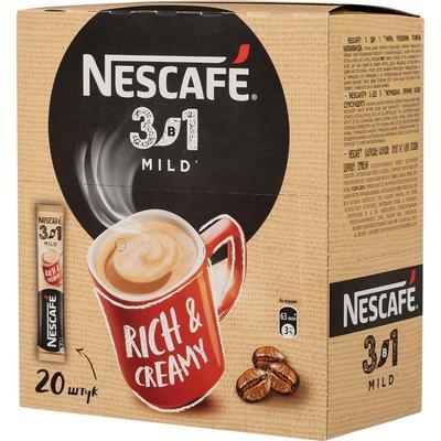 Кофе порционный растворимый Nescafe 3 в 1 мягкий 20 пакетиков по 14.5 г