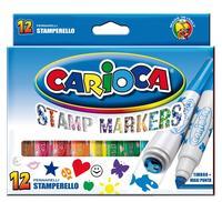 Фломастеры Carioca 12 цветов со штампами