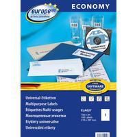 Этикетки самоклеящиеся Europe 100 белые 210х297 мм (1 штука на листе А4, 100 листов, артикул производителя ELA027)