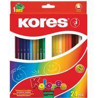Карандаши цветные Kores 24 цвета трехгранные с точилкой