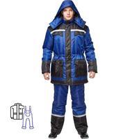 Костюм рабочий зимний мужской з27-КПК с СОП синий/черный (размер 48-50, рост 170-176)