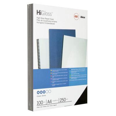 Обложки для переплета картонные GBC А4 250 г/кв.м черные глянцевые (100 штук в упаковке)