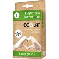 Перчатки одноразовые EcoLat латексные неопудренные белые (размер L, 10 штук/5 пар в упаковке)