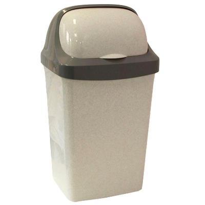 Ведро для мусора с крышкой-вертушкой М-Пластика РоллТоп 15 л пластик серое (27х23.5х48.8 см)