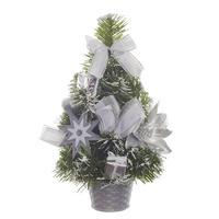 Елка новогодняя настольная 30 см в корзине с серебристыми украшениями