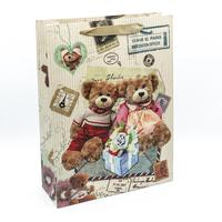 Пакет подарочный из крафт-бумаги Мишки (37x27.5x10 см)
