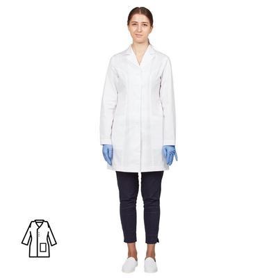 Халат медицинский женский м12-ХЛ длинный рукав белый (размер 48-50, рост 170-176)