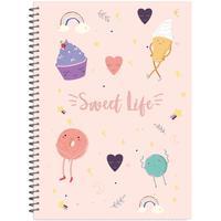 Бизнес-тетрадь креативная Attache Selection Sweet Life Сладости А4 96 листов разноцветная в клетку на спирали 2 разделителя (213x293 мм)