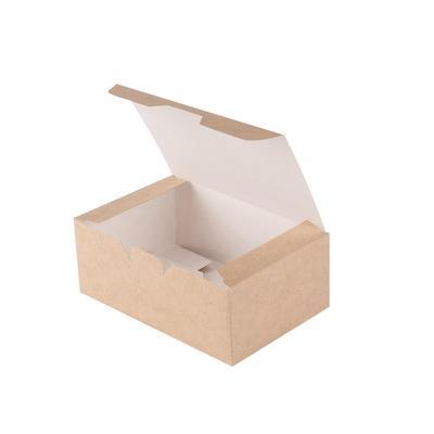 Бумажный контейнер DoEco Eco Fast Food Box S для куриных крыльев и наггетсов коричневый (115х75х45 мм, 25 штук в упаковке)