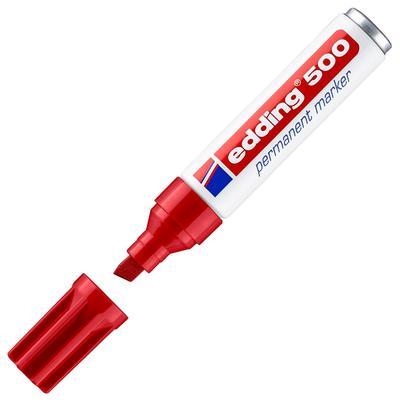 Маркер перманентный Edding 500 BL красный (толщина линии 2-7 мм)  скошенный наконечник
